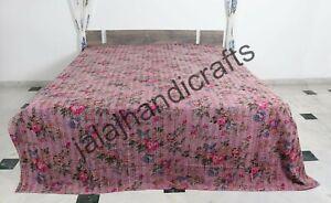 King Size Bedspread Indian Handmade Blanket Cotton Kantha Bedcover Floral Print