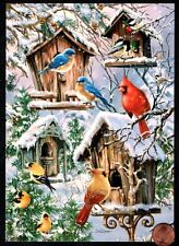 Christmas Birds Chickadee Cardinals Blue Bird Houses Christmas Greeting Card New