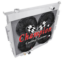 """3 Row Perf Radiator W/ 4 12"""" Fans for 1983 - 1994 Ford F-Series Diesel V8 Eng"""