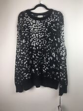 (522) NEW Ava & Viv Animal Print Black Grey Pullover Sweater Plus Size 2X