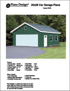 20' X 28' Car Garage Project Plans, Material List Included - Design #52028