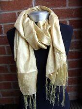 Gold Luxury Silky Crinkle & Shiny Effect Scarf Wrap Pashmina Shawl Party Wedding