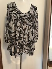 Plus Size 20 Black Grey Zebra Comfy Overlay Top Cold Shoulder Sleeves