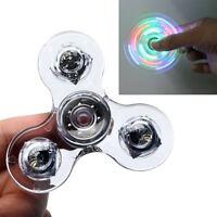 LED  Crystal Light Fidget Spinner Rainbow EDC Hand Toy Stress Finger Spinners
