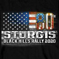 2020 Sturgis Long Sleeve T Shirt American Flag Black Hills Rally Motorcycle