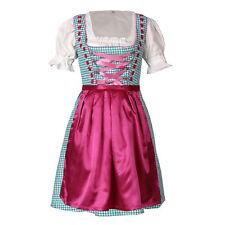 Dirndl 3 tlg.Trachtenkleid Kleid, Bluse, Schürze, Gr. 34-46 türkis pink kariert
