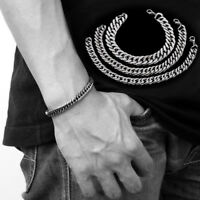Punk Mens Women Silver Stainless Steel Bracelet Wristband Bangle Cuff Chain Link