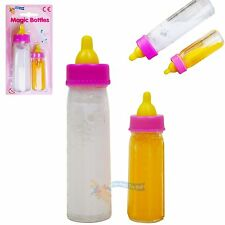 New Born Baby Doll Magic Milk Bottle Set of 2 Dolls Feeding Set Girls Toy