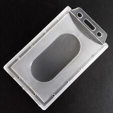 Porte Badge Carte Format Vertical Plastique Rigide Support Etui Card ID Holder