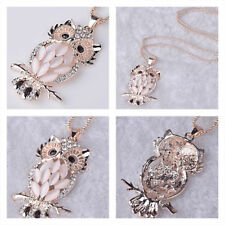 Women Cute Owl Rose Gold Plated Crystal Jewelry Long Chain Pendant Necklace Gift