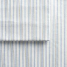 "FULL Cuddl Duds BLUE STRIPE OLIVER Warm Heavy Flannel Sheet Set 17"" depth"