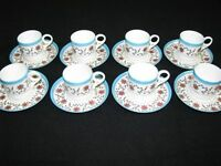 Set of 8 Vintage/Antique Royal Crown Derby Demitasse Cups & Saucers Hand Painted