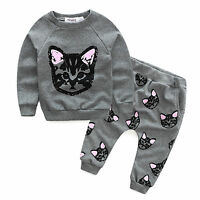 Toddler Kids Baby Girls Outfit Clothes Sweater Long Sleeve Blouse Tops Pants Set