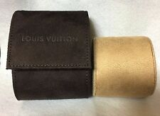 Louis Vuitton Brown TRAVEL STORAGE WATCH CASE Authentic Suede Suede-like