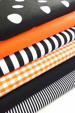 HALLOWEEN FABRIC BUNDLE ORANGE & BLACK FAT QUARTERS POLYCOTTON