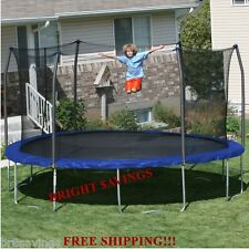 New 15' Round Trampoline with Safety Net Enclosure 96 Spring Steel Frame
