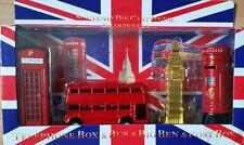 DIE CAST METAL LONDON BUS BIG BEN , PHONE & POST BOX SET OF 4 SOUVENIRS GIFT SET
