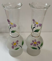 Vintage Half Frosted Flower Vase With Raised Hand Painted Purple Flowers