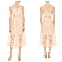 Sandro Womens 38 Medium M Bilali Guipure Lace Midi Dress Pale Ponk New $490