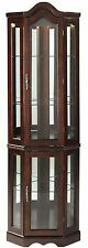 Tempered Glass Corner Cabinet, Lighted Curio Shelves Furniture Oak Mahogany New