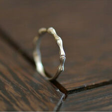 Boho Adjustable Jewelry Opening Bamboo Rings Silver Plated  For Women Vintage