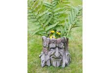 Nouveau sculpté visage tronc d'arbre Jardin Jardiniere en résine imitation bois pot de fleur ornement