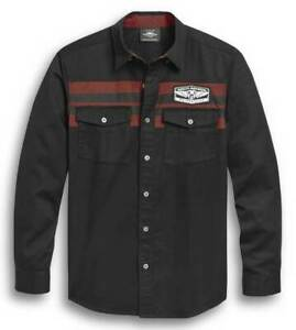 Harley-Davidson® Men's Chest Stripe L/S Woven Shirt, Black 96304-20VM SZ L