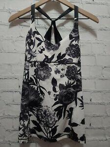 Lululemon Practice Daily Tank Womens Size 6 Black/ White Brisk Bloom Black White
