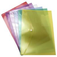 Transparent Plastic A4 Popper Wallet Document Folders Button File Clear Coloured