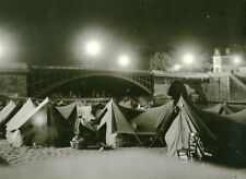 France Paris Bridge Sully Abbé Pierre Homeless Families Old Photo 1955
