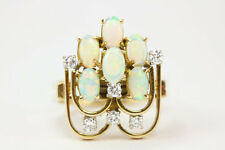 1.38 Tcw Vintage Opal and Diamond cocktail ring 14K yellow gold