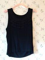 Grace Elements Womans Plus Size 2X Dressy Black Tank Top Shirt w/ Front Ruffles