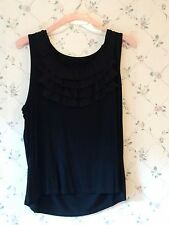Grace Elements Womans Plus Size 2X Dressy Black Tank Top Shirt w/ Front Ruffles