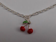 Rockabilly Cherry Necklace, Retro, 50s, Kitch, Vintage, Silver Plated.