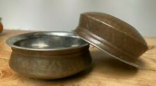 Pair Vintage Hammered Copper Brass Indian Bowls