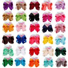 30pcs/lot 8inch JoJo Solid Grosgrain Ribbon Hair Bow With Clips For Kids Girls