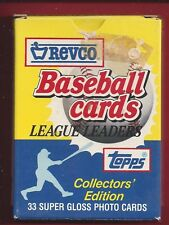 1988 TOPPS REVCO LEAGUE LEADERS SUPER GLOSS 33 TOPPS CARDS IN BOXED SET