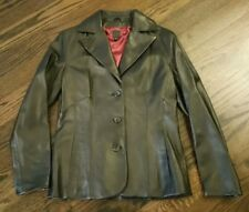 WILSON'S WOMEN'S BLACK LEATHER BUTTON FRONT JACKET BLAZER LINED - M Gorgeous!