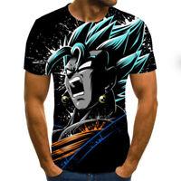 Anime Men Dragon Ball Super Z Son Goku Zamasu Black Print Color Pullover T-Shirt