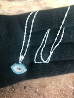 925 Sterling Silver w/ Blue CZ Evil Eye Protection Pendant  Necklace