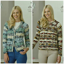 KNITTING PATTERN Ladies Long Sleeve Jacket with Pockets & Jumper Chunky KC 4245