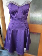BNWT ASOS SIZE 10 PURPLE SATIN STRAPLESS DRESS SHEER TRIM LINING FLIPPY SKIRT