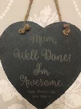 Personalised Birthday Gift Present Nan Nanna Mum Mummy Grandma Slate Heart