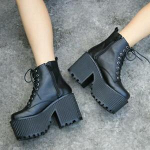 Punk Womens Platform Chunky High Heels Ankle Boots Lace Up Goth Shoes Pumps A+++