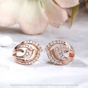 1Ct Round Cut VVS1/D Diamond Push Back Stud Earrings In 14K Rose Gold Finish