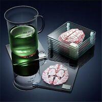 Brain Specimen Coasters Set 3D Artwork Brain Slices Square Acrylic Drinks Table