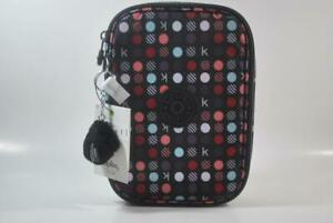 New With Tag KIPLING 100 PENS large Pencil Case - K Multi Dots Red