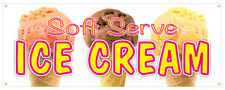Soft Serve Ice Cream #02 Banner Refreshing Flavors Concession Stand Sign 36x96