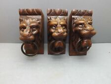 French Antiquity 3 beautiful old lion heads carved in solid oak and metal ring