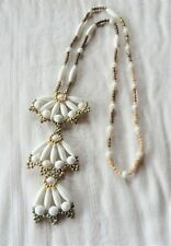 "White & Gold Tone Beads Necklace 26"" Statement"
